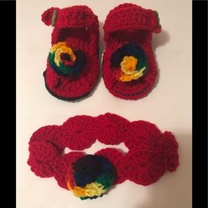 Other - HAND CROCHETED BABY SANDALS/HEADBAND RED